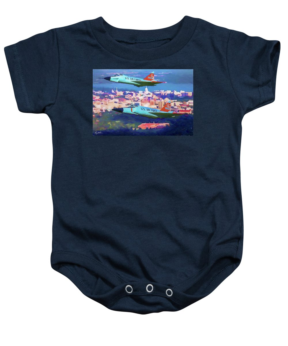 Convair F-102 Delta Dagger Baby Onesie featuring the digital art Daggers Over Madison In Oil by Tommy Anderson