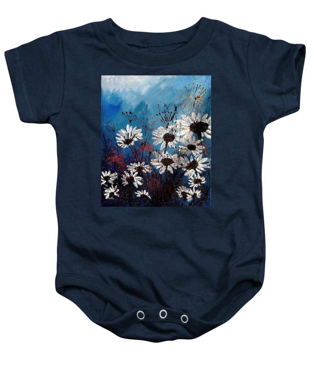 Flowers Baby Onesie featuring the painting Daisies 59060 by Pol Ledent