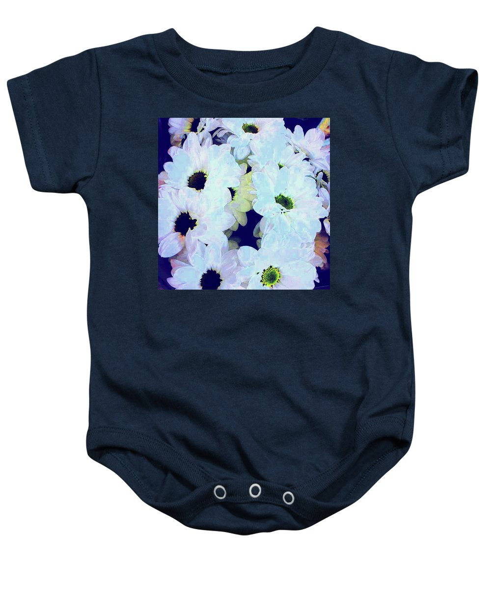 Daisy Baby Onesie featuring the digital art Daisy Laughs by Jon Fennel