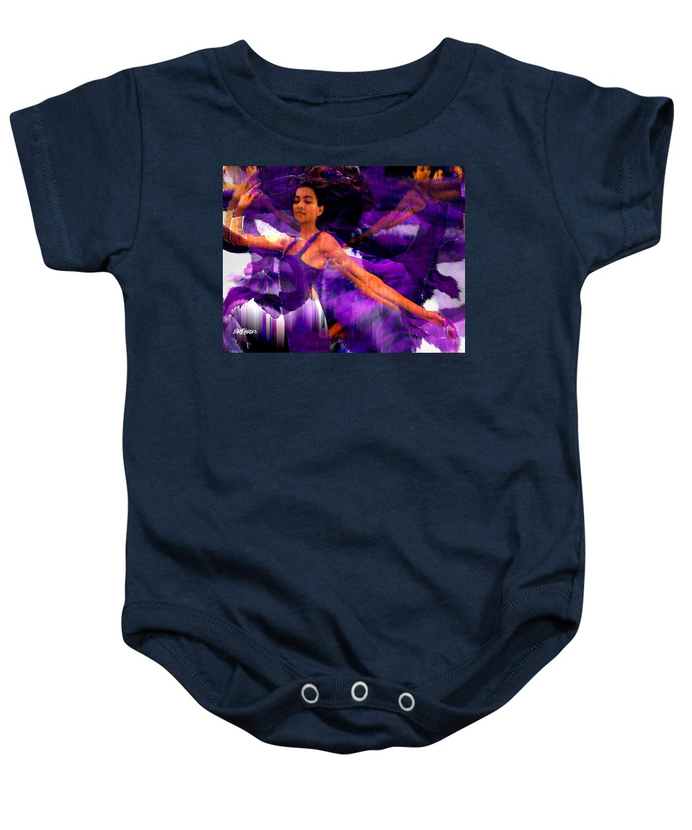 Mystical Baby Onesie featuring the digital art Dance Of The Purple Veil by Seth Weaver