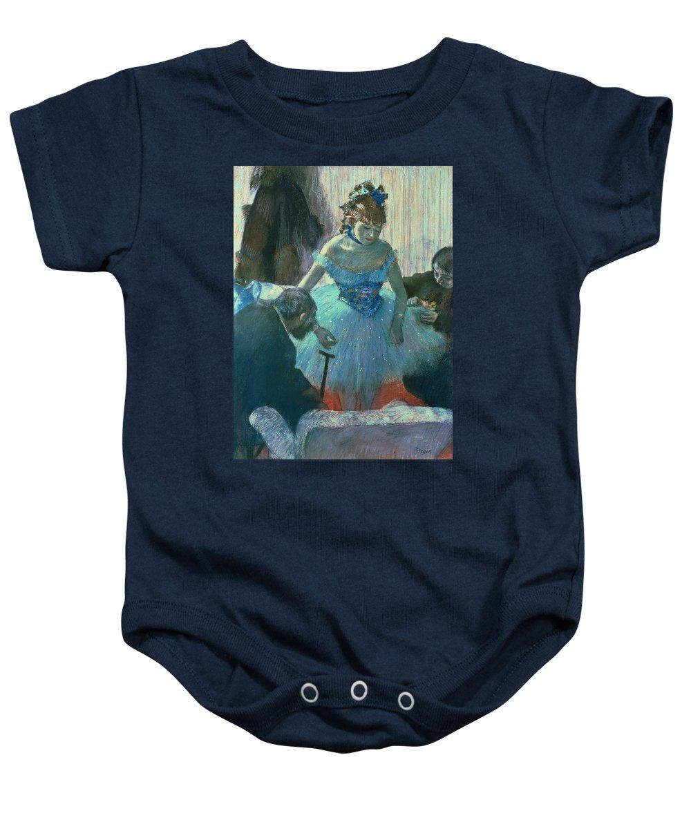 Dancer In Her Dressing Room (pastel) By Edgar Degas (1834-1917) Baby Onesie featuring the pastel Dancer In Her Dressing Room by Edgar Degas