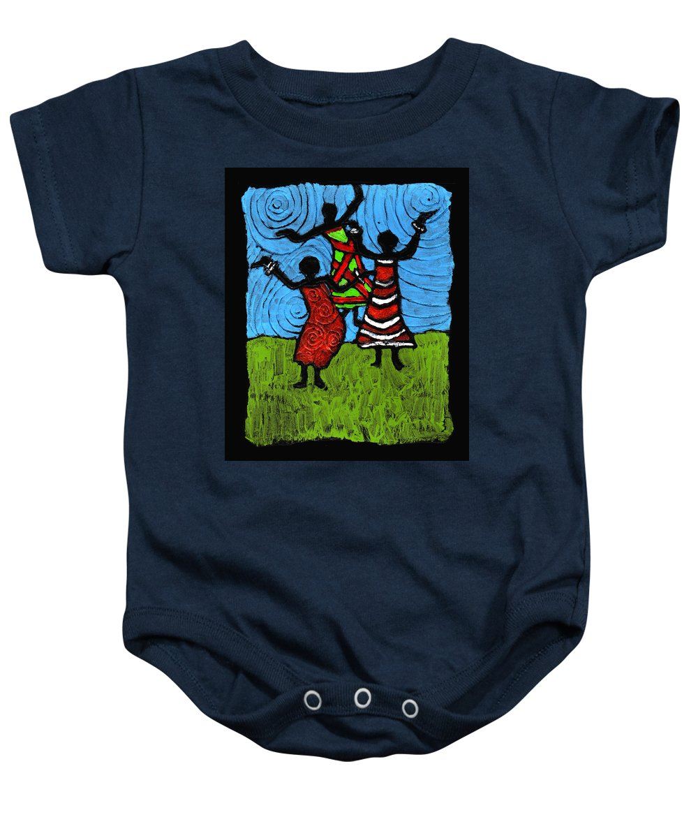 Black Art Baby Onesie featuring the painting Dancing So Good I Started To Fly by Wayne Potrafka