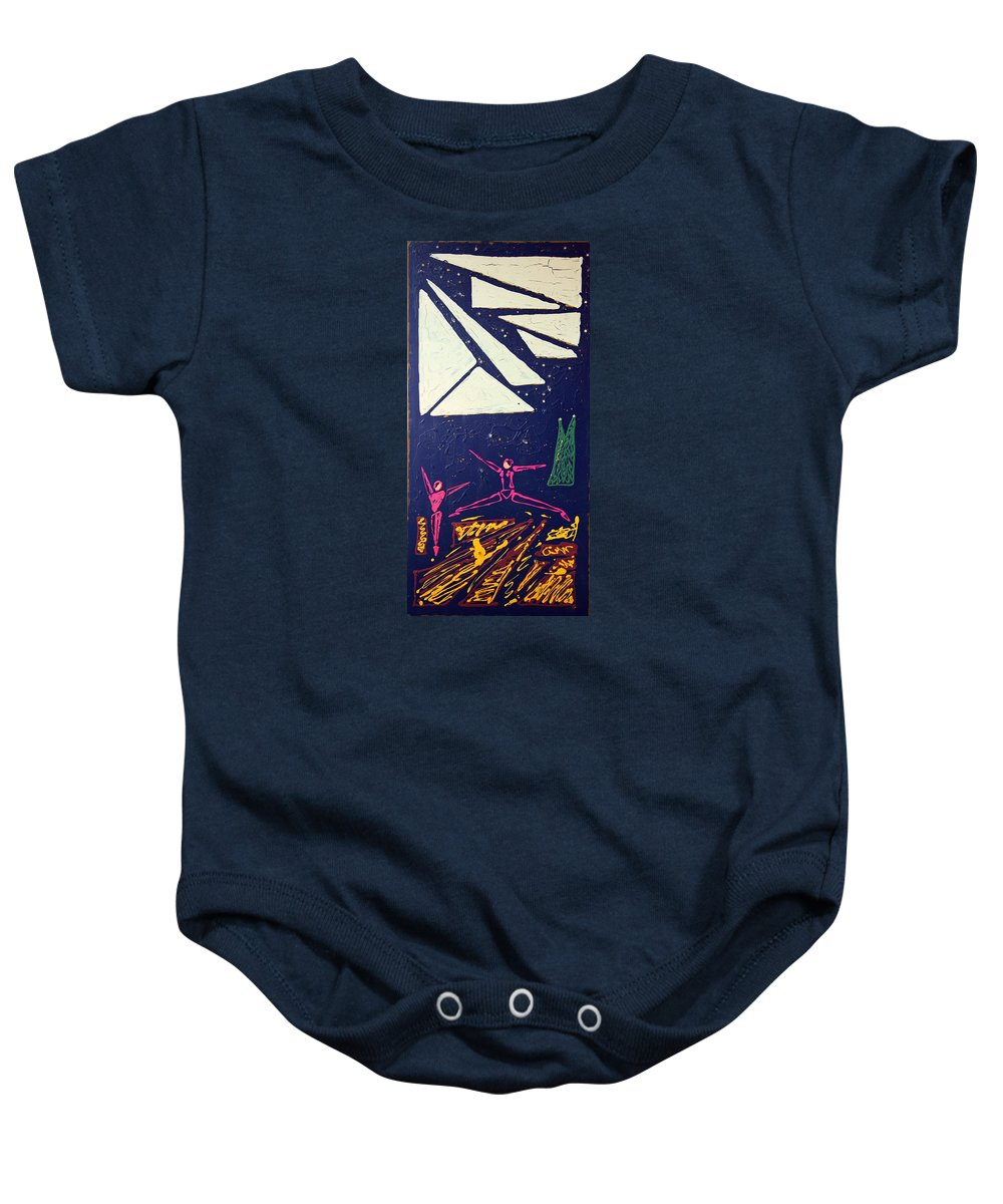 Dancers Baby Onesie featuring the mixed media Dancing Under The Starry Skies by J R Seymour