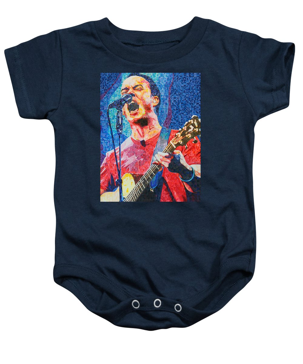 Dave Matthews Baby Onesie featuring the drawing Dave Matthews Squared by Joshua Morton