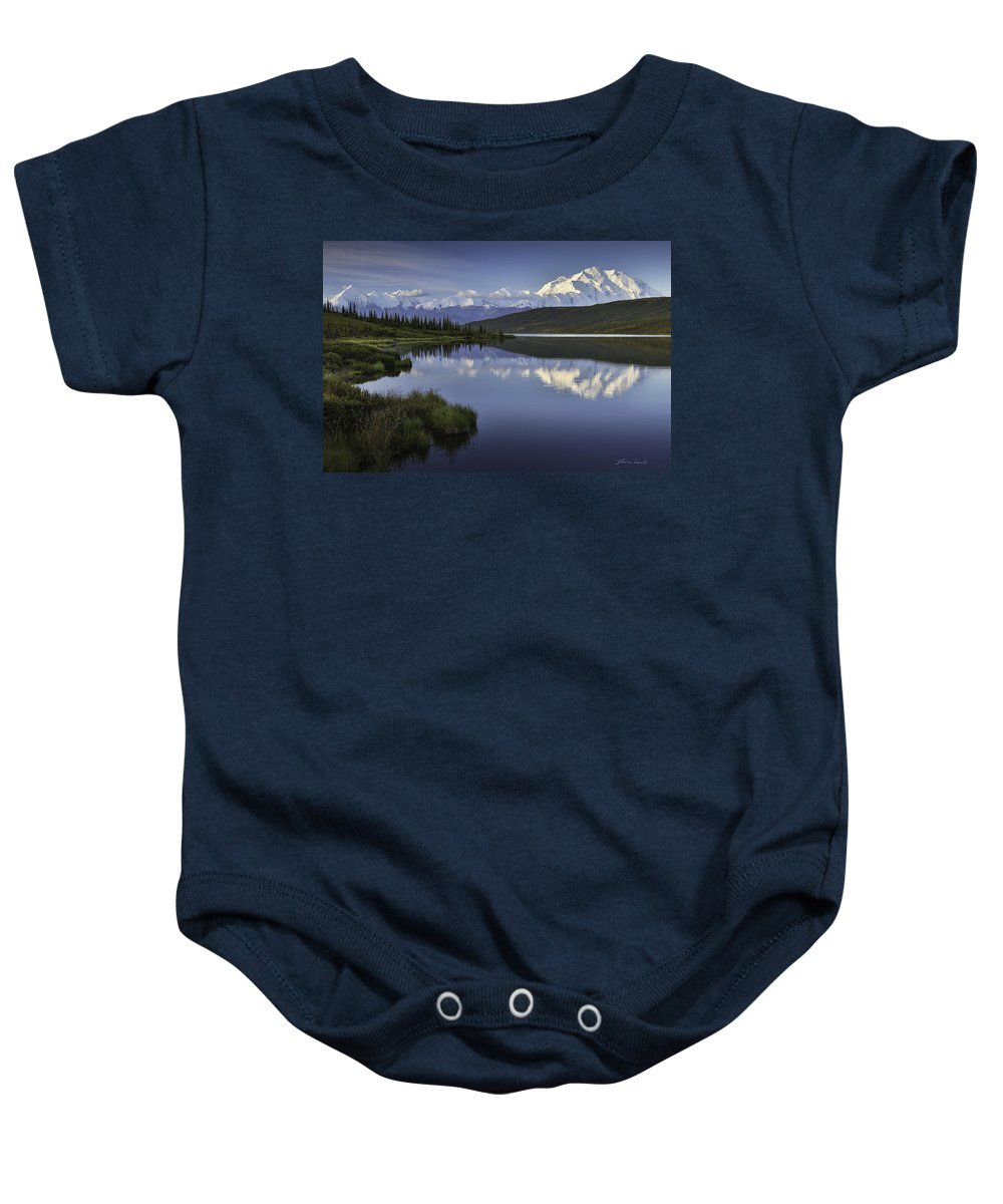 Denali Baby Onesie featuring the photograph Denali Wonder Lake by Shane Lamb