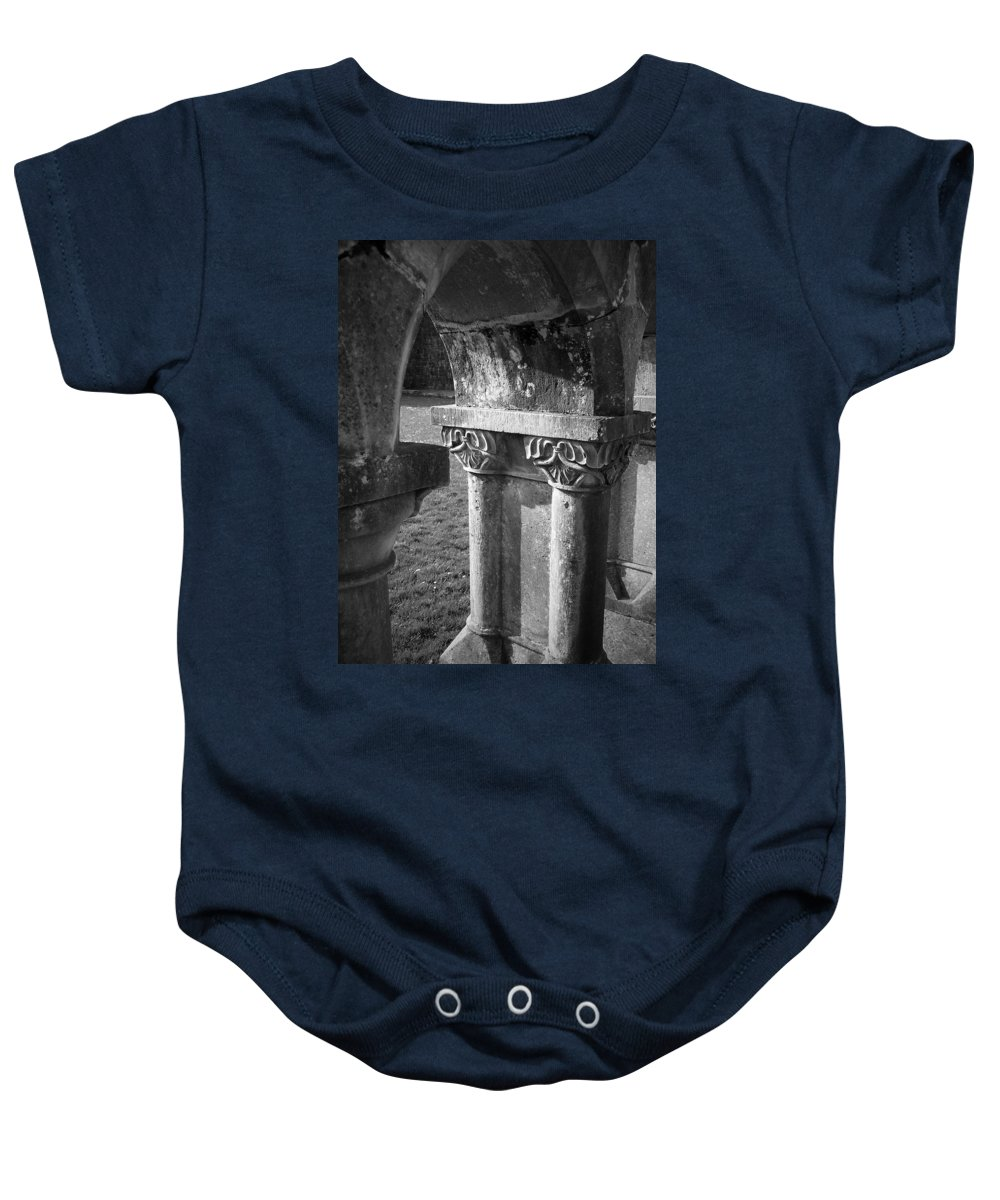 Irish Baby Onesie featuring the photograph Detail Of Cloister At Cong Abbey Cong Ireland by Teresa Mucha