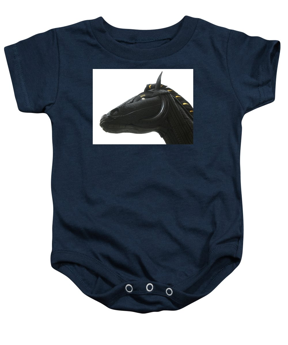 Horse Baby Onesie featuring the sculpture Detail - Tire Horse by Mo Siakkou-Flodin