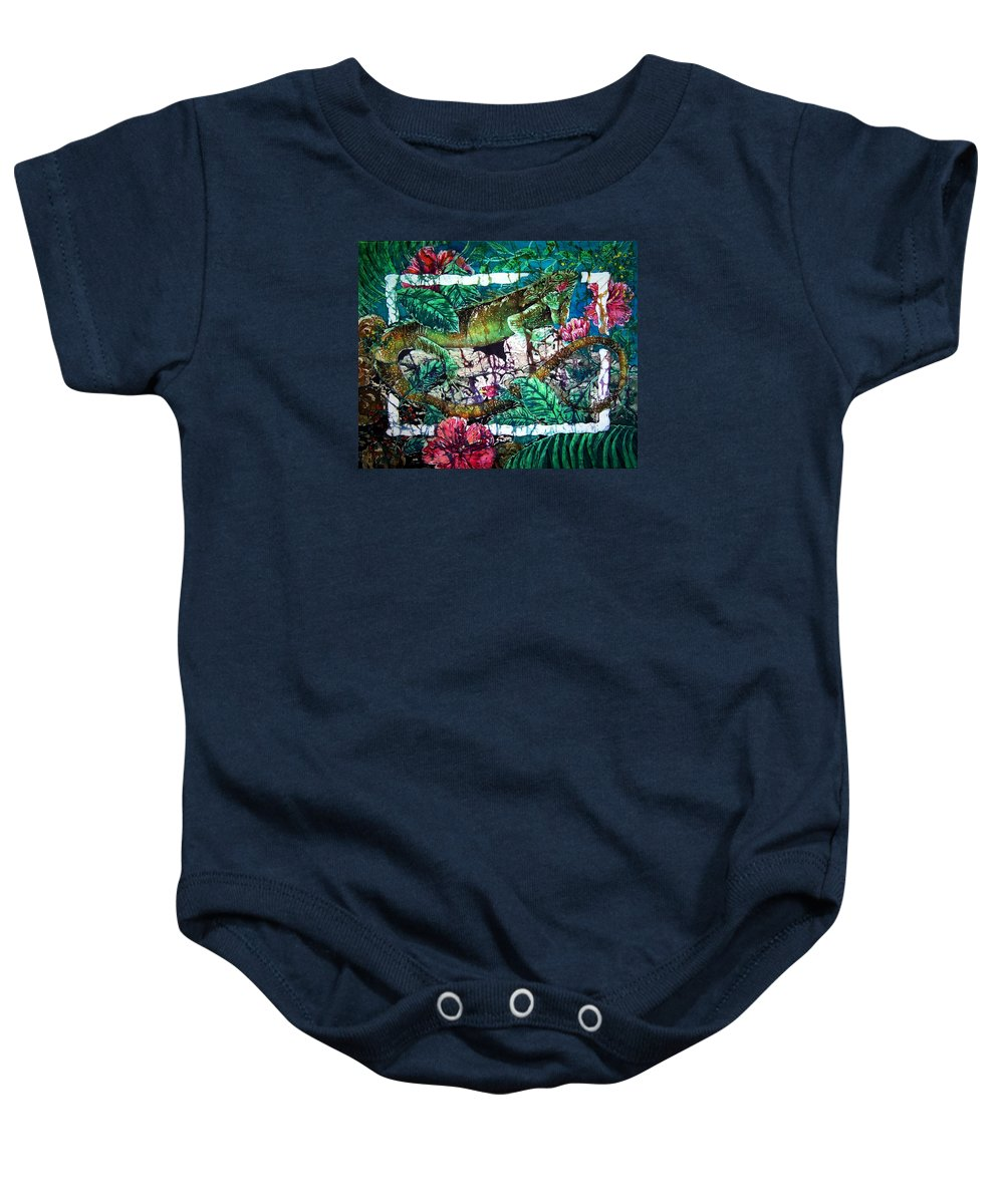 Iguana Baby Onesie featuring the painting Dining At The Hibiscus Cafe - Iguana by Sue Duda