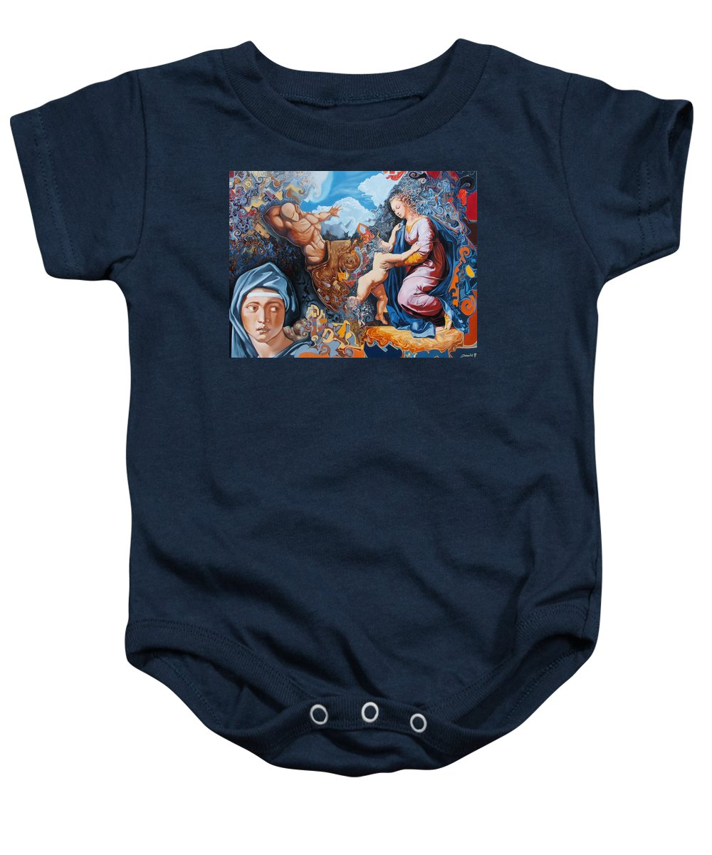 Surrealism Baby Onesie featuring the painting Disintegration Of The Old Ancient World by Darwin Leon