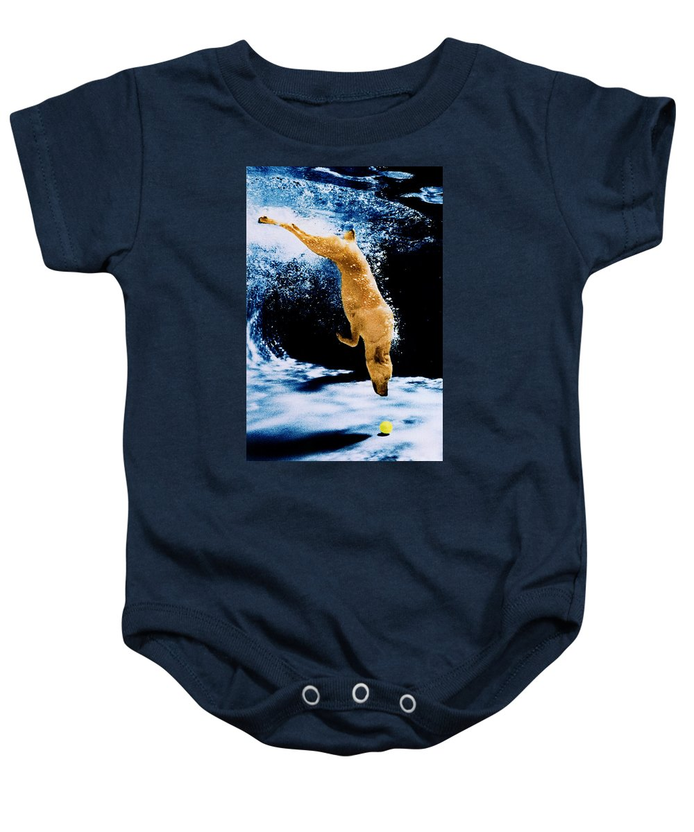 Pet Baby Onesie featuring the photograph Diving Dog Underwater by Jill Reger