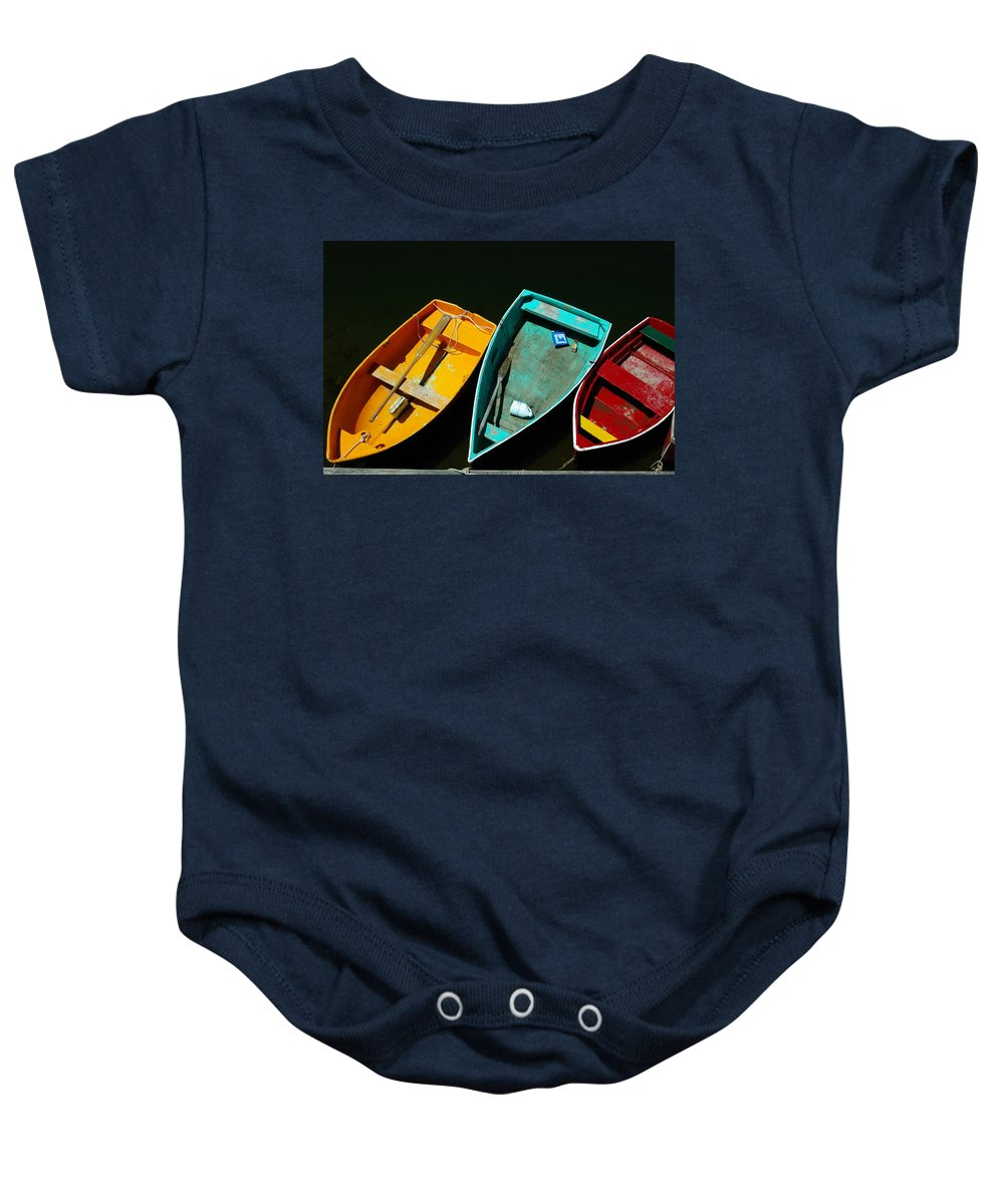 Landscape Nautical Row Boat New England Rockport Baby Onesie featuring the photograph Dnre0603 by Henry Butz