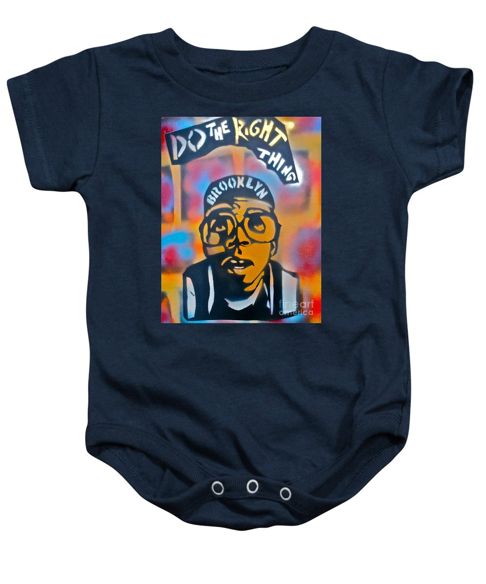 Spike Lee Baby Onesie featuring the painting Do The Right Thing by Tony B Conscious