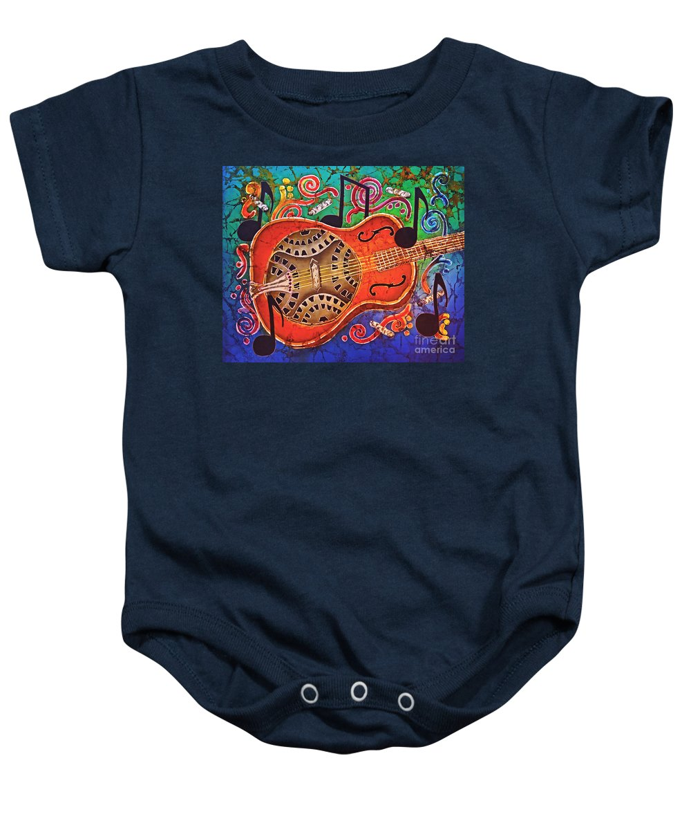 Dobro Baby Onesie featuring the tapestry - textile Dobro - Slide Guitar by Sue Duda