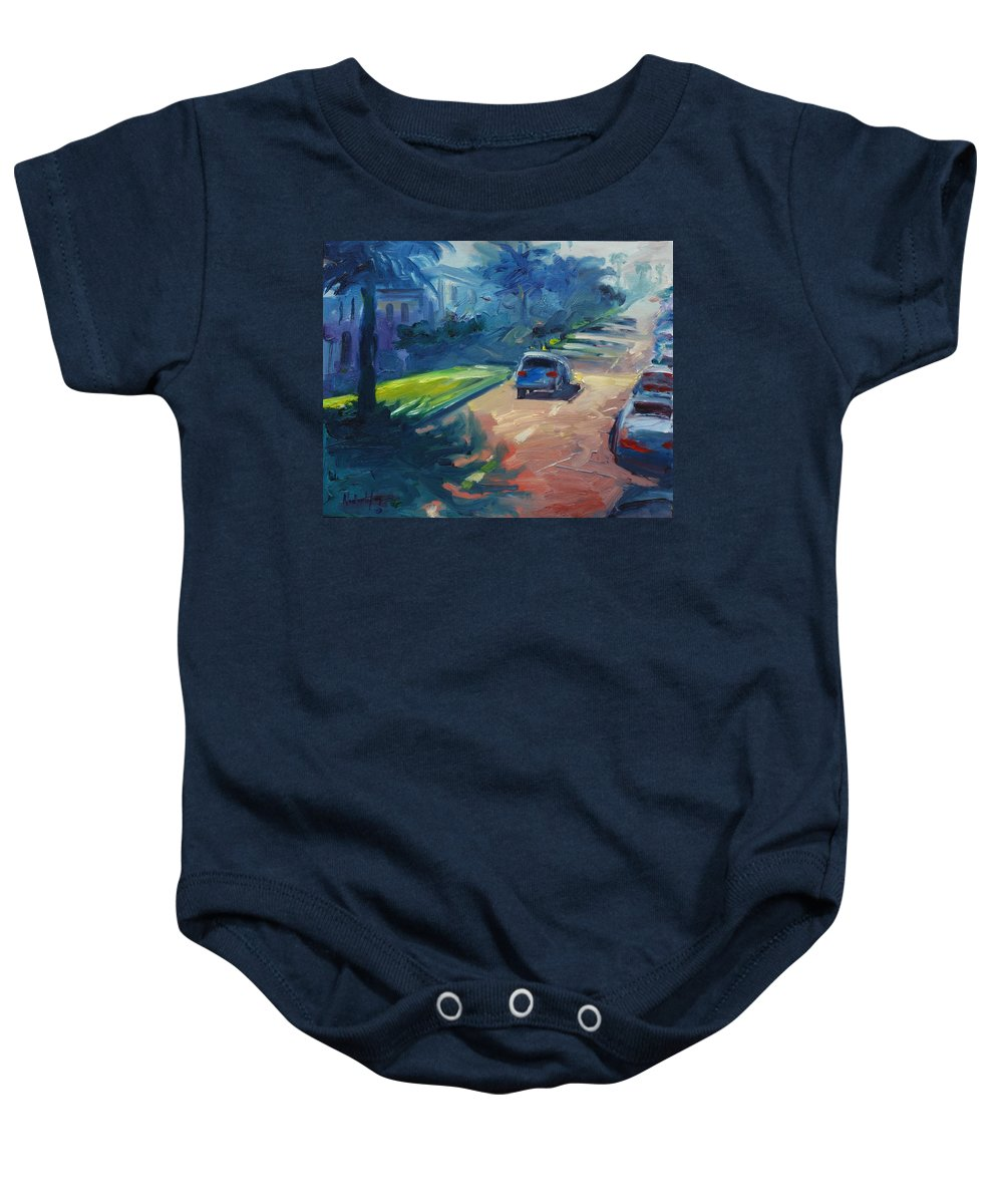 Cityscape Baby Onesie featuring the painting Dolores Street by Rick Nederlof