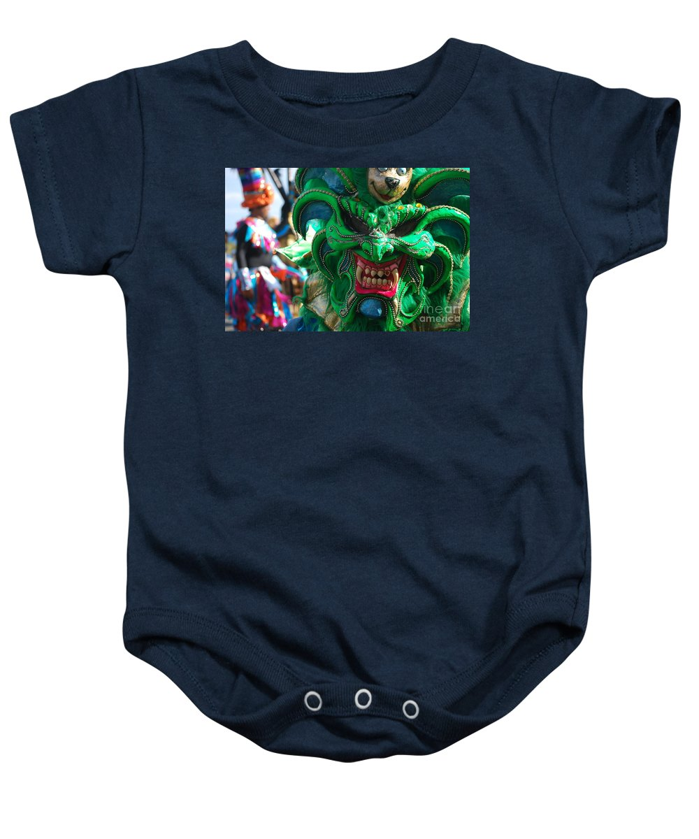Carnival Baby Onesie featuring the photograph Dominican Republic Carnival Parade Green Devil Mask by Heather Kirk