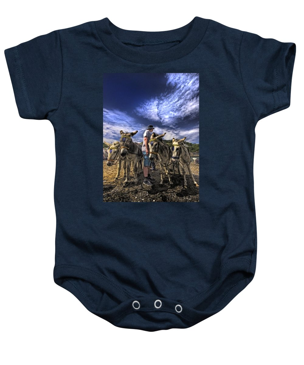 Donkey Baby Onesie featuring the photograph Donkey Rides by Meirion Matthias