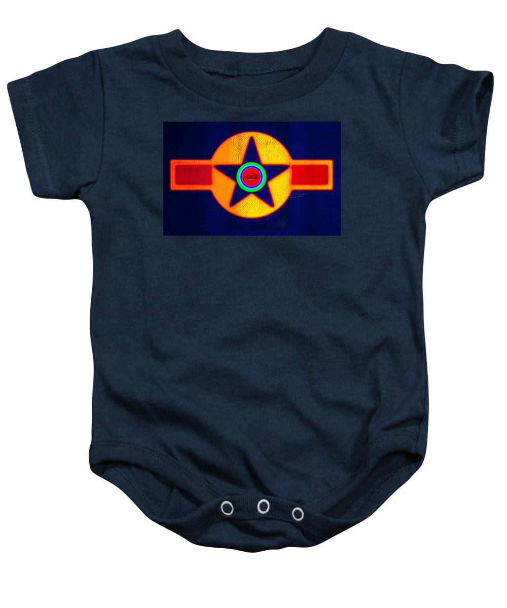 Usaaf Baby Onesie featuring the painting Double Red by Charles Stuart