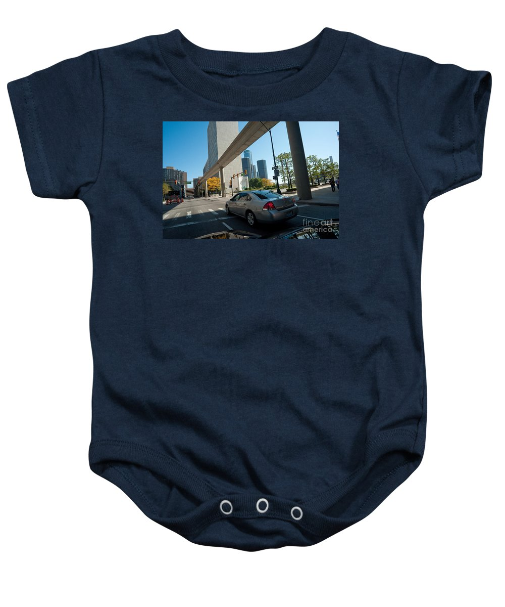 Detroit Baby Onesie featuring the photograph Downtown Detroit by Steven Dunn