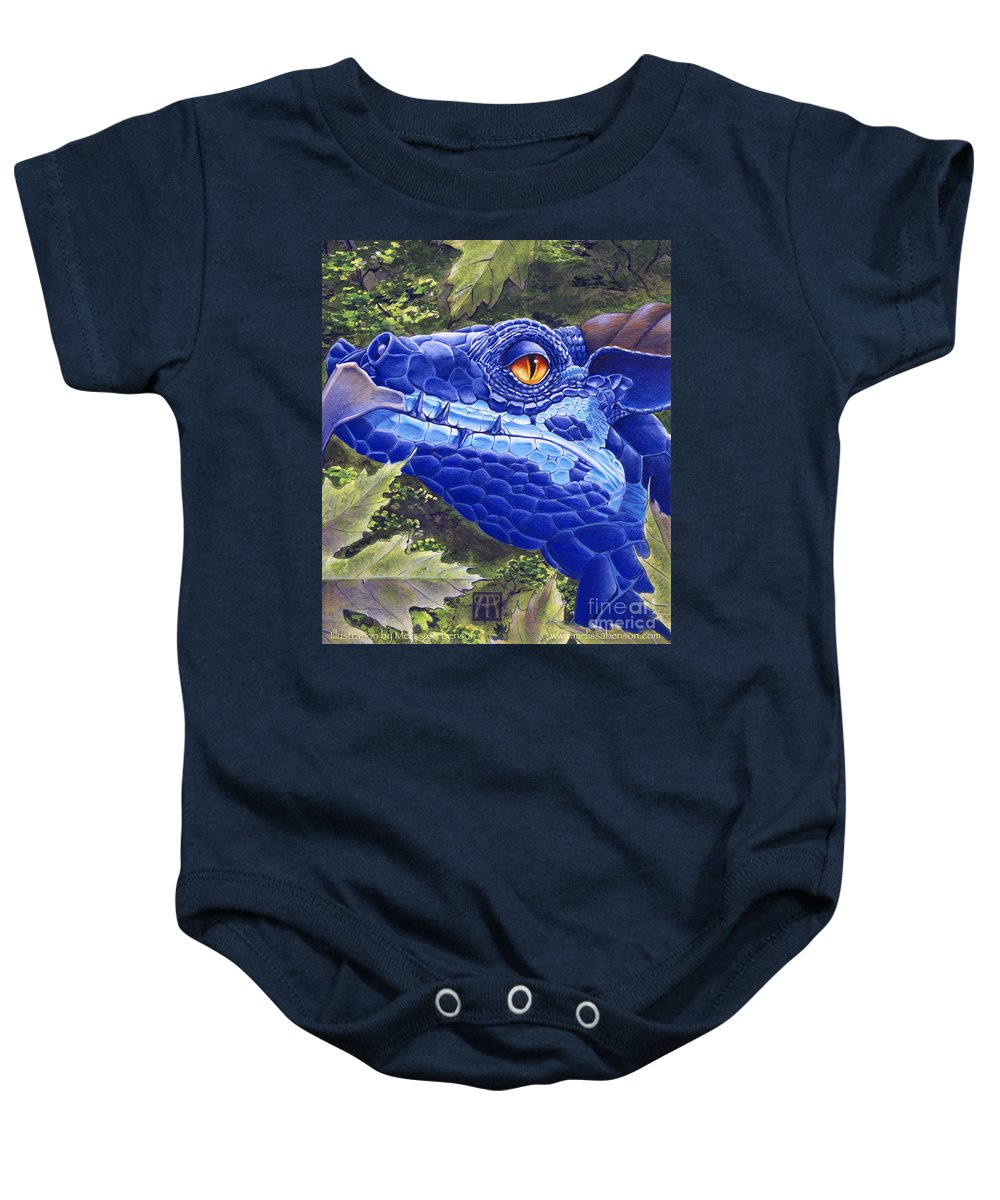 Dragon Baby Onesie featuring the painting Dragon Eyes by Melissa A Benson