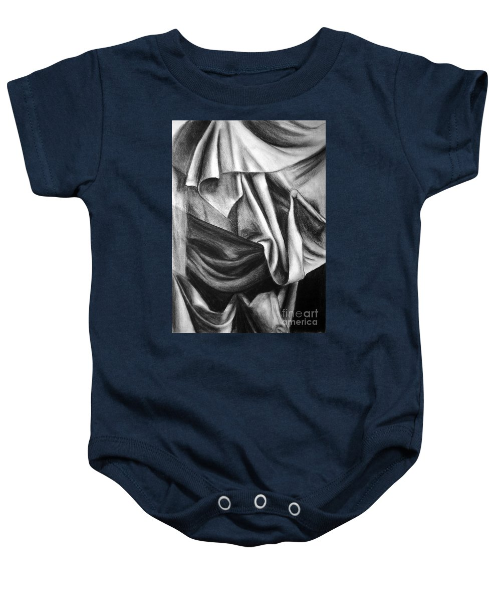 Charcoal Baby Onesie featuring the drawing Drapery Still Life by Nancy Mueller