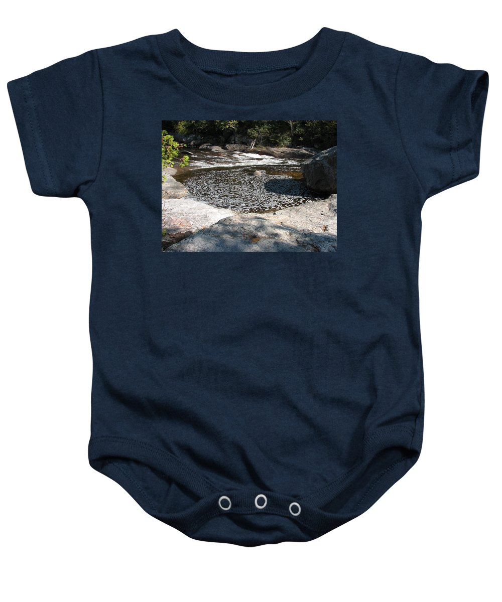 River Baby Onesie featuring the photograph Drifting Dreams by Kelly Mezzapelle