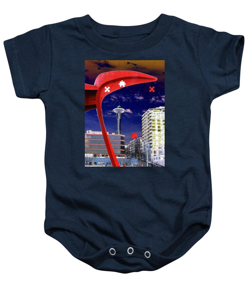 Seattle Baby Onesie featuring the digital art Eagle Needle by Tim Allen