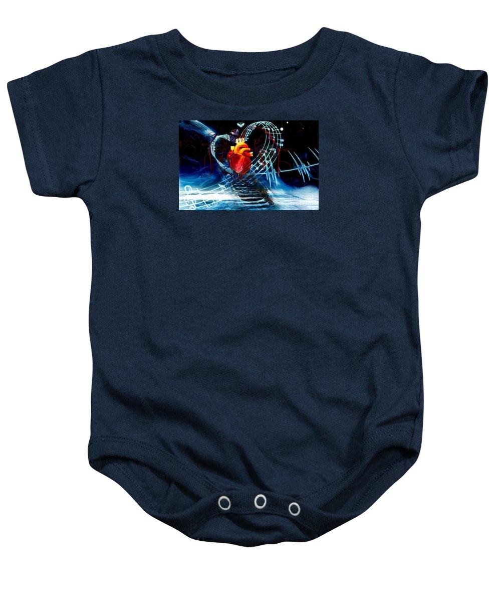 Earth Baby Onesie featuring the digital art Earth Heart by LDS Dya