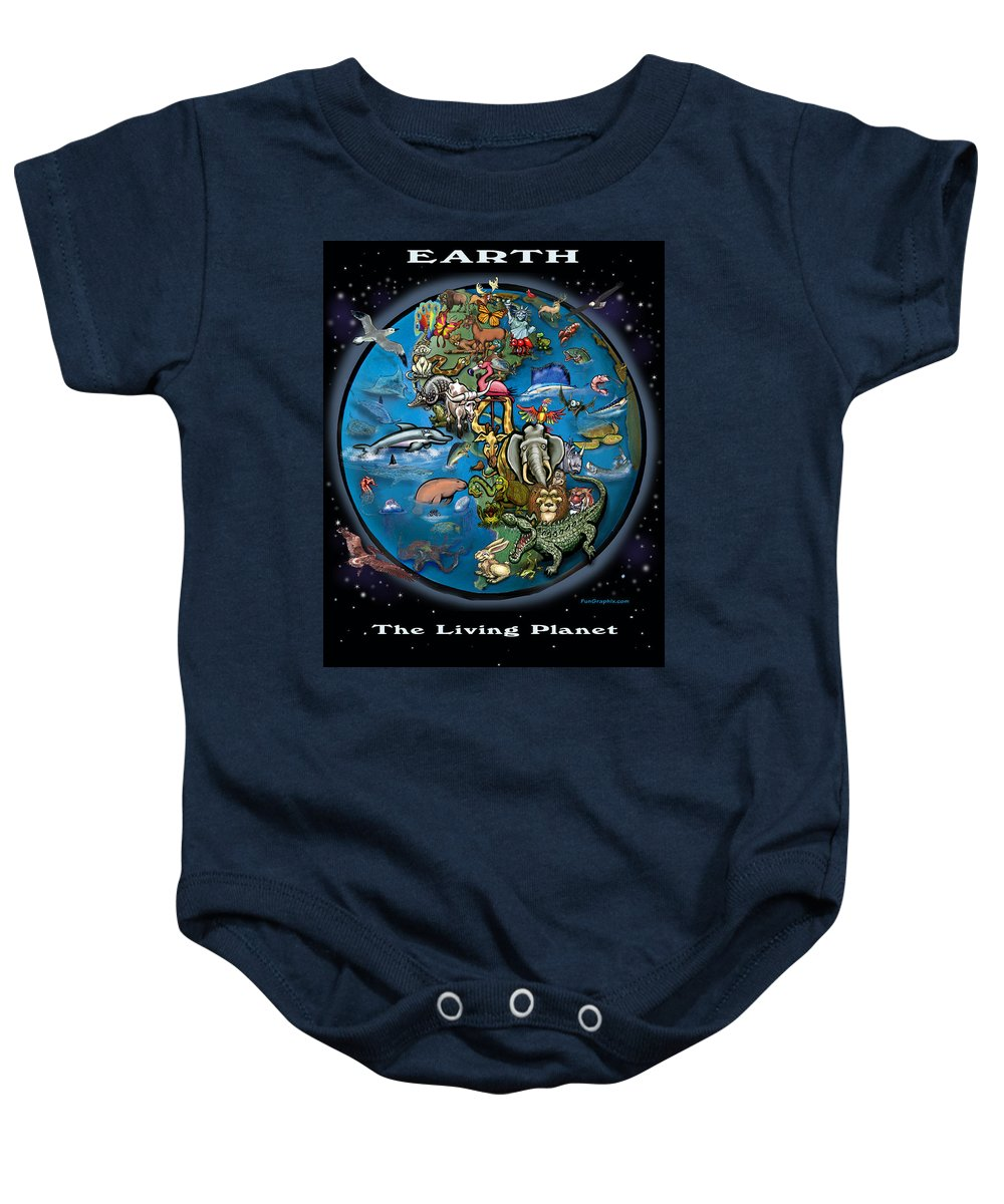 Earth Baby Onesie featuring the painting Earth by Kevin Middleton