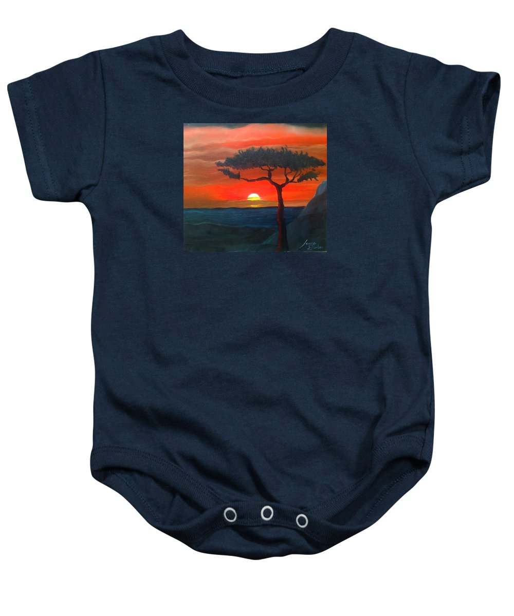 Africa! Baby Onesie featuring the painting East African Sunset by Dunbar's Modern Art