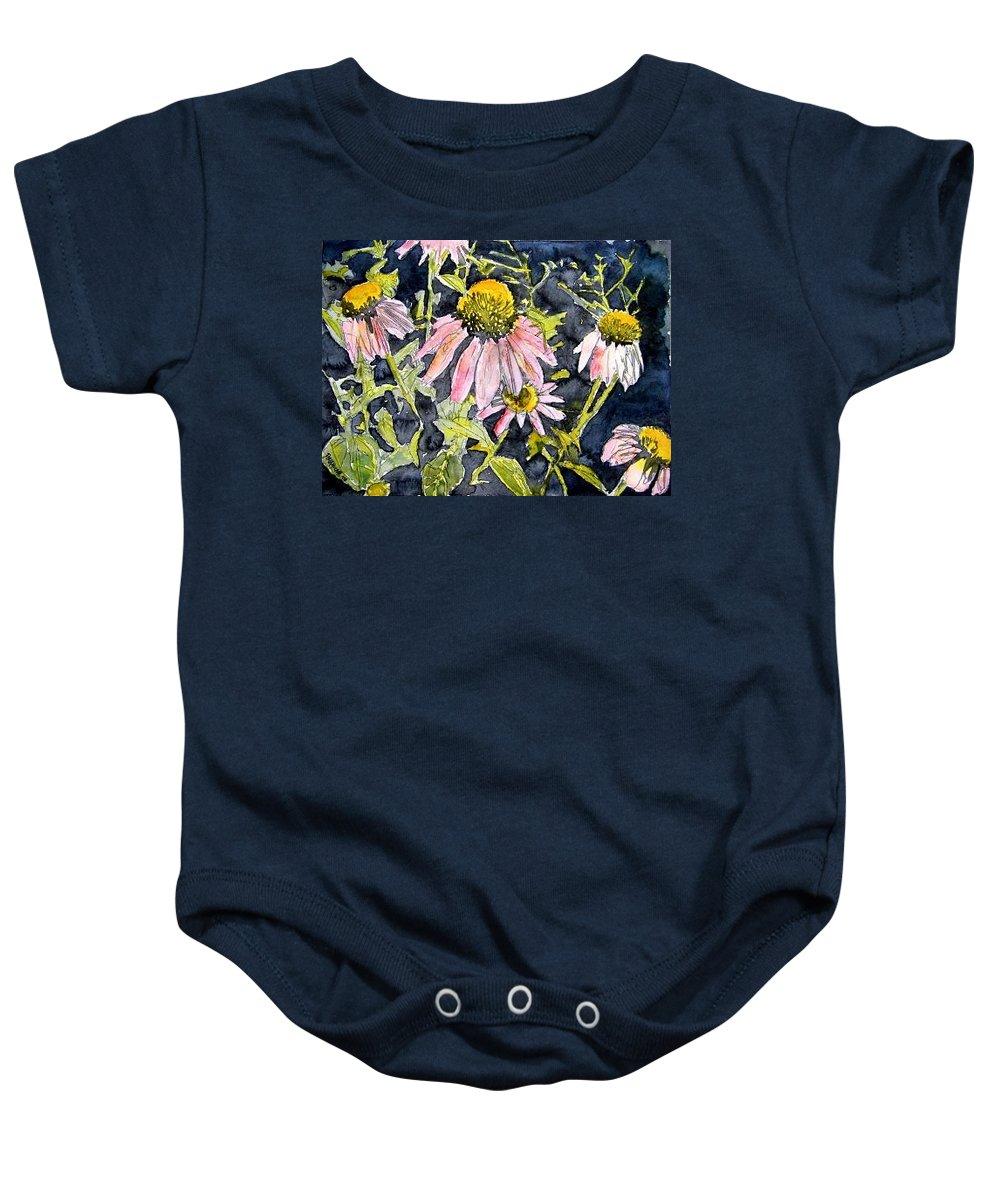 Echinacea Baby Onesie featuring the painting Echinacea Coneflower 2 by Derek Mccrea