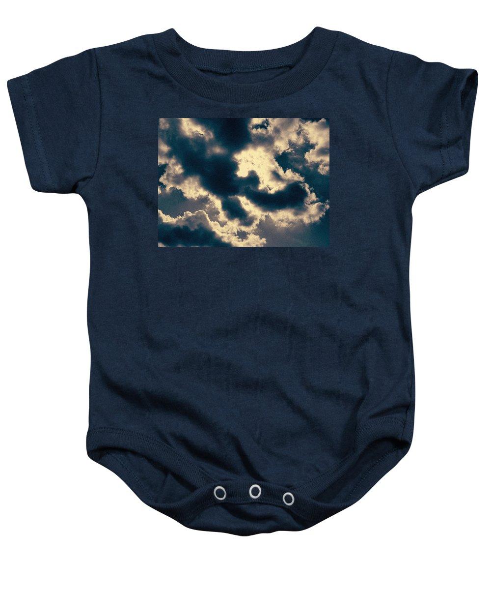 Edgewater Skies Baby Onesie featuring the photograph Edgewater Skies by Kyle Hanson