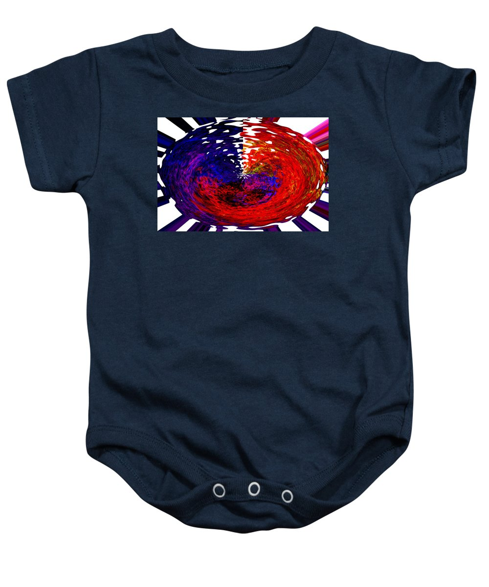 Abstract Baby Onesie featuring the digital art Egg-nigma by Richard Thomas