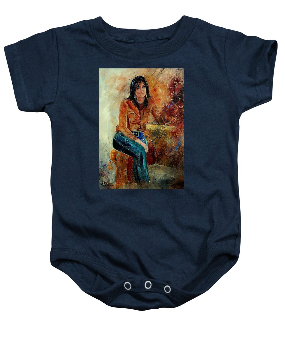 Girl Baby Onesie featuring the painting Eglantine 57 by Pol Ledent