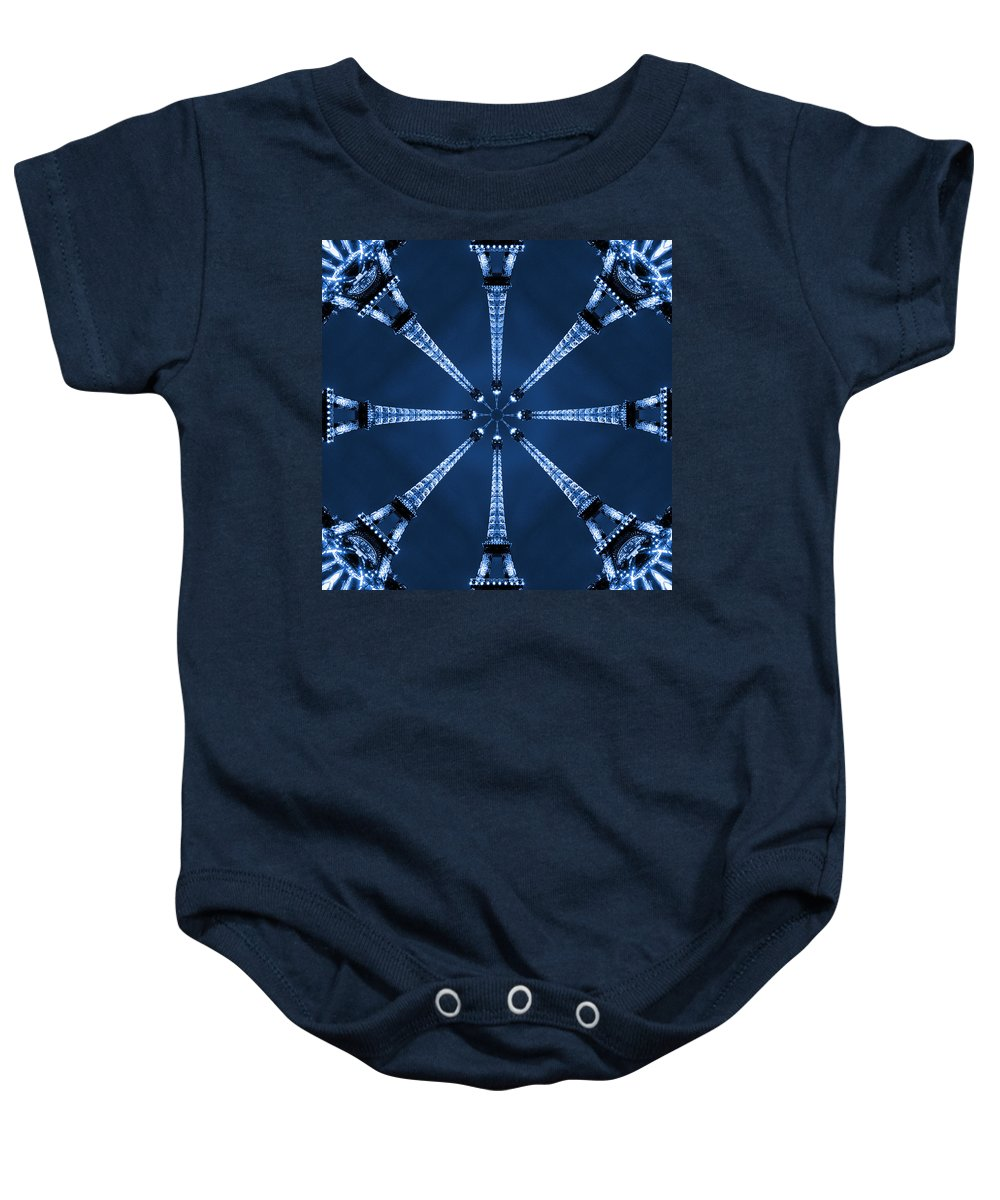 Abstract Baby Onesie featuring the photograph Eiffel Art 17 by Mike McGlothlen