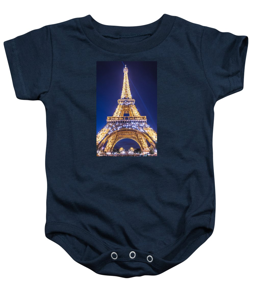 Europe Baby Onesie featuring the photograph Eiffel Tower At Dusk. by Mike Young