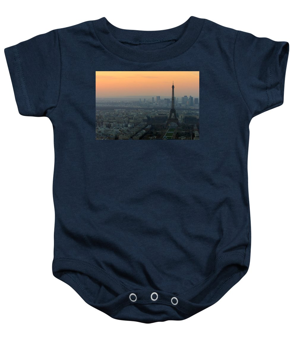 Eiffel Baby Onesie featuring the photograph Eiffel Tower At Dusk by Sebastian Musial