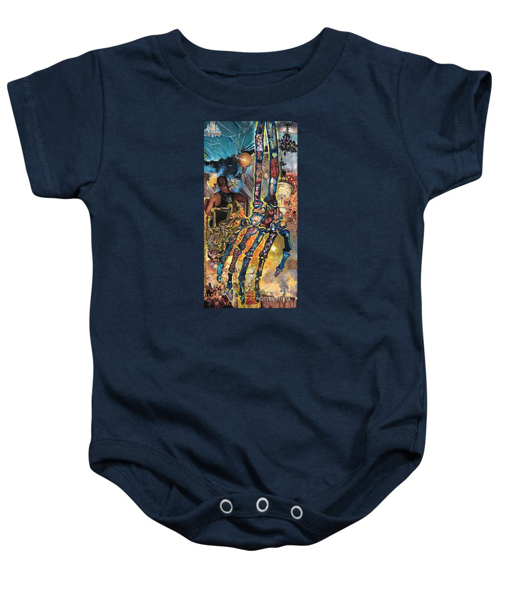 Human Baby Onesie featuring the painting Electricity Hand La Mano Poderosa by Emily McLaughlin