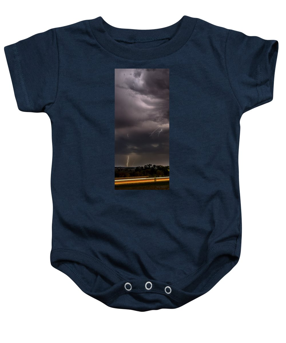 Electrified Baby Onesie featuring the photograph Electrified Clouds by Gary Mosman