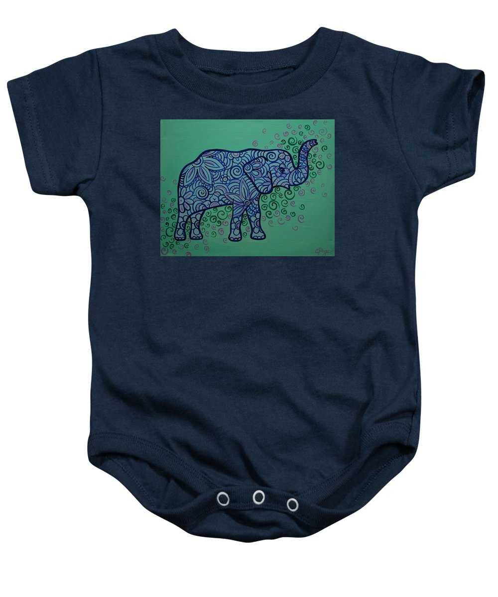 Elephant Baby Onesie featuring the painting Elephant Dreams by Emily Page