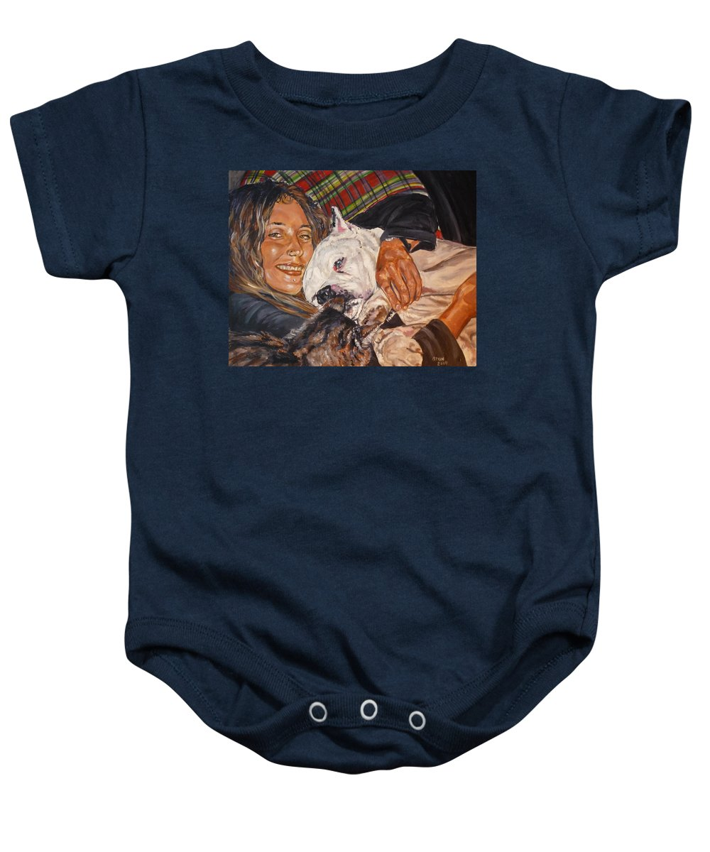 Pet Baby Onesie featuring the painting Elvis And Friend by Bryan Bustard