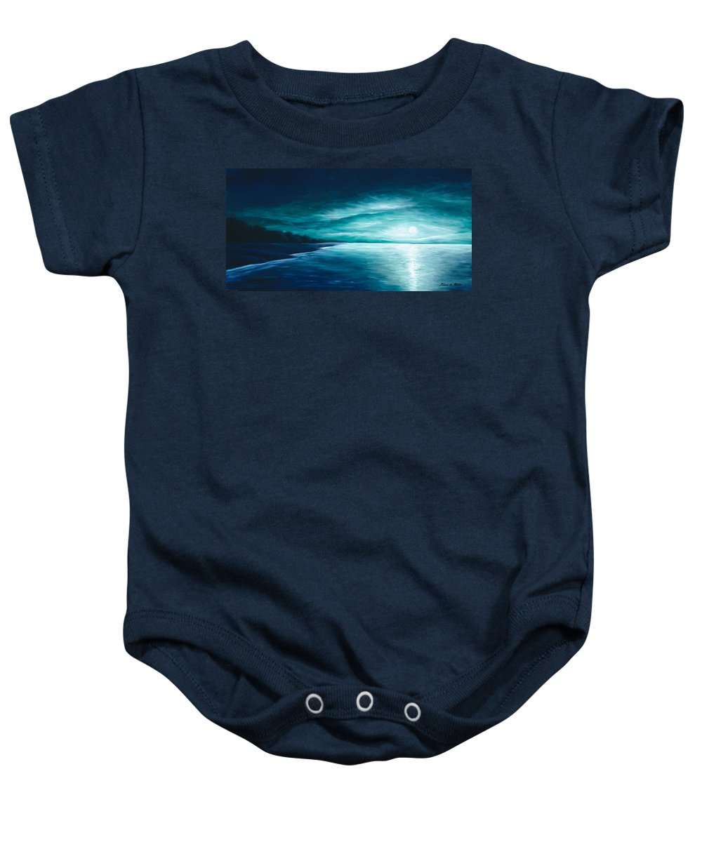 Moonscape Baby Onesie featuring the painting Enchanted Moon I by James Christopher Hill