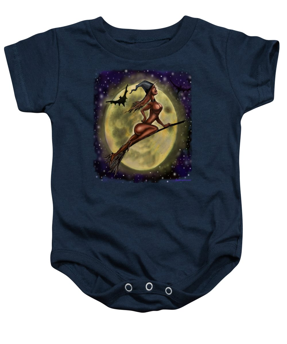 Halloween Baby Onesie featuring the digital art Enchanting Halloween Witch by Kevin Middleton