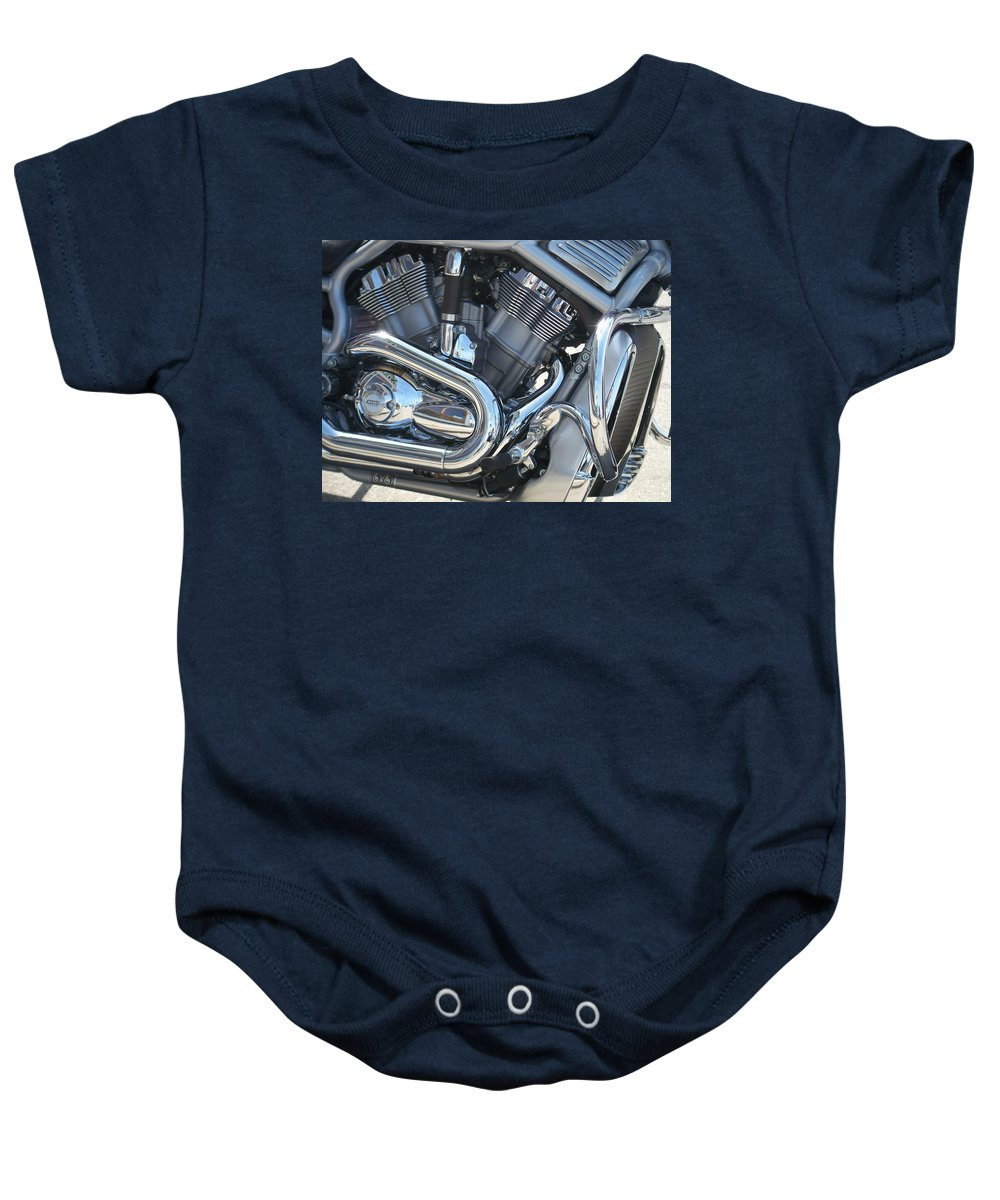 Motorcycle Baby Onesie featuring the photograph Engine Close-up 1 by Anita Burgermeister