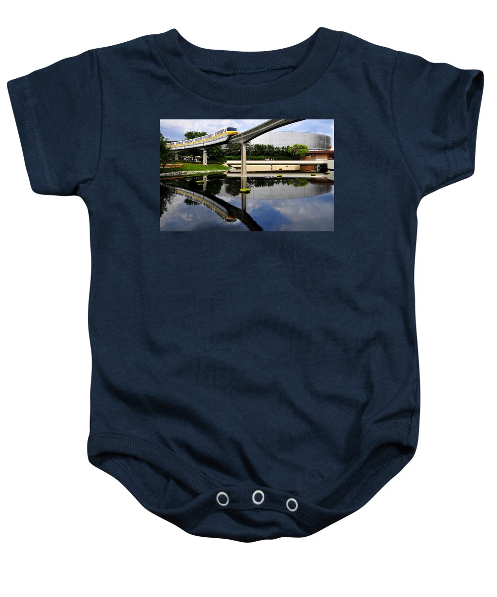 Panoramic Photography Baby Onesie featuring the photograph Epcot Reflections by David Lee Thompson
