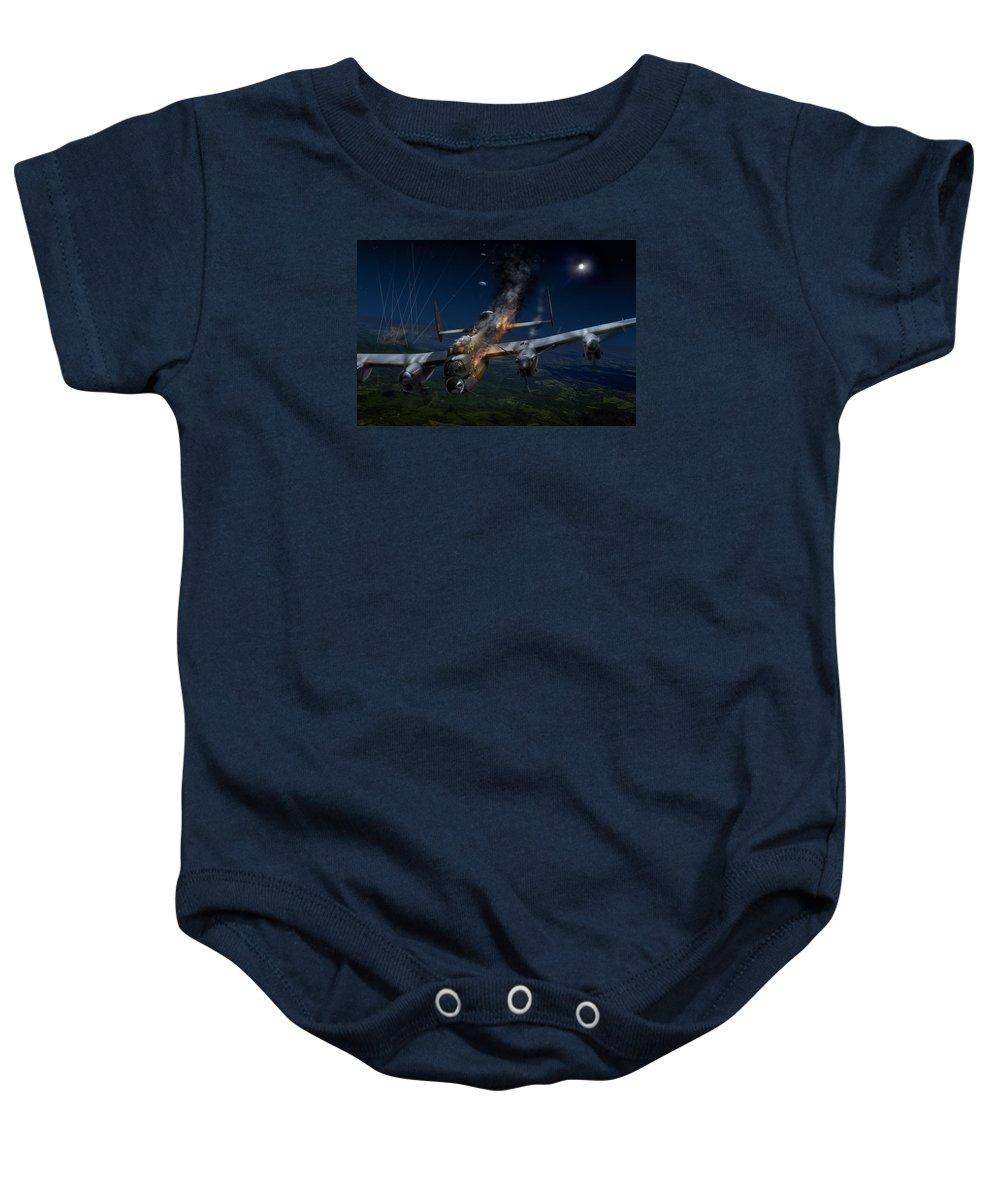 Avro Lancaster Baby Onesie featuring the digital art Escape At Mailly by Gary Eason