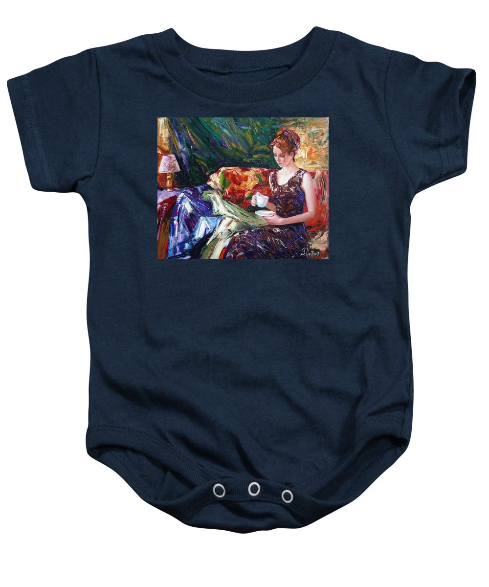 Figurative Baby Onesie featuring the painting Evening Coffee by Sergey Ignatenko