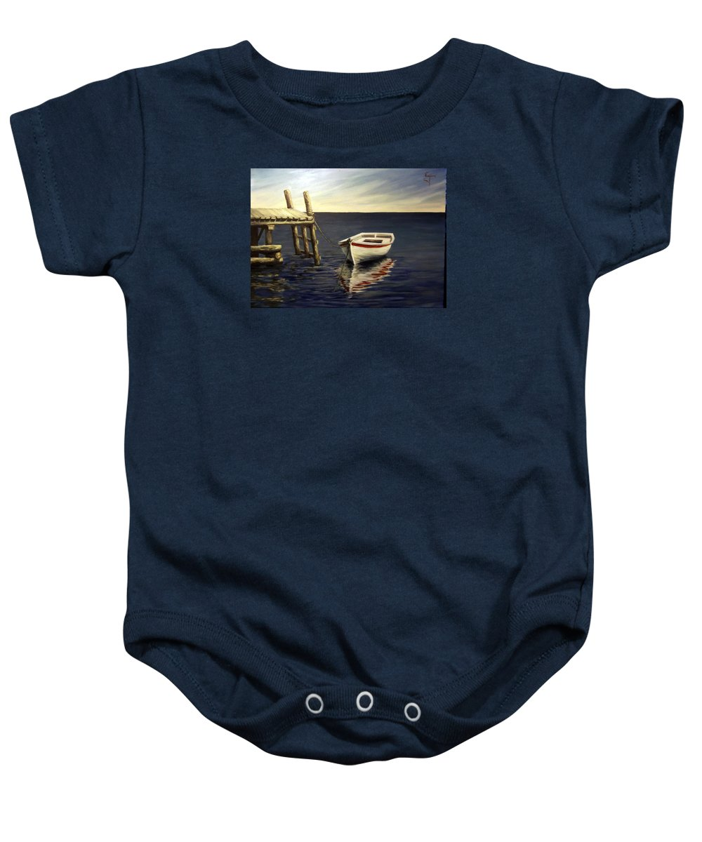 Sea Water Reflection Boat Seascape Coast Evening Dawn Marine Baby Onesie featuring the painting Evening Sea by Natalia Tejera