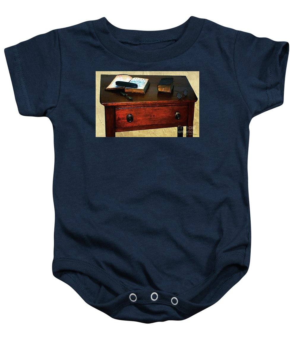 Americana Baby Onesie featuring the painting Everyday Reading by RC DeWinter