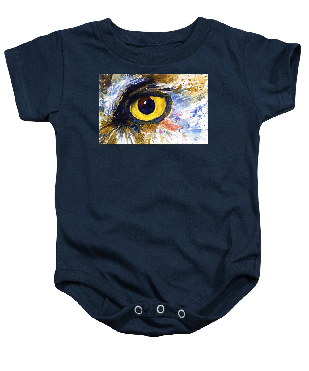 Owls Baby Onesie featuring the painting Eyes Of Owl's No.6 by John D Benson