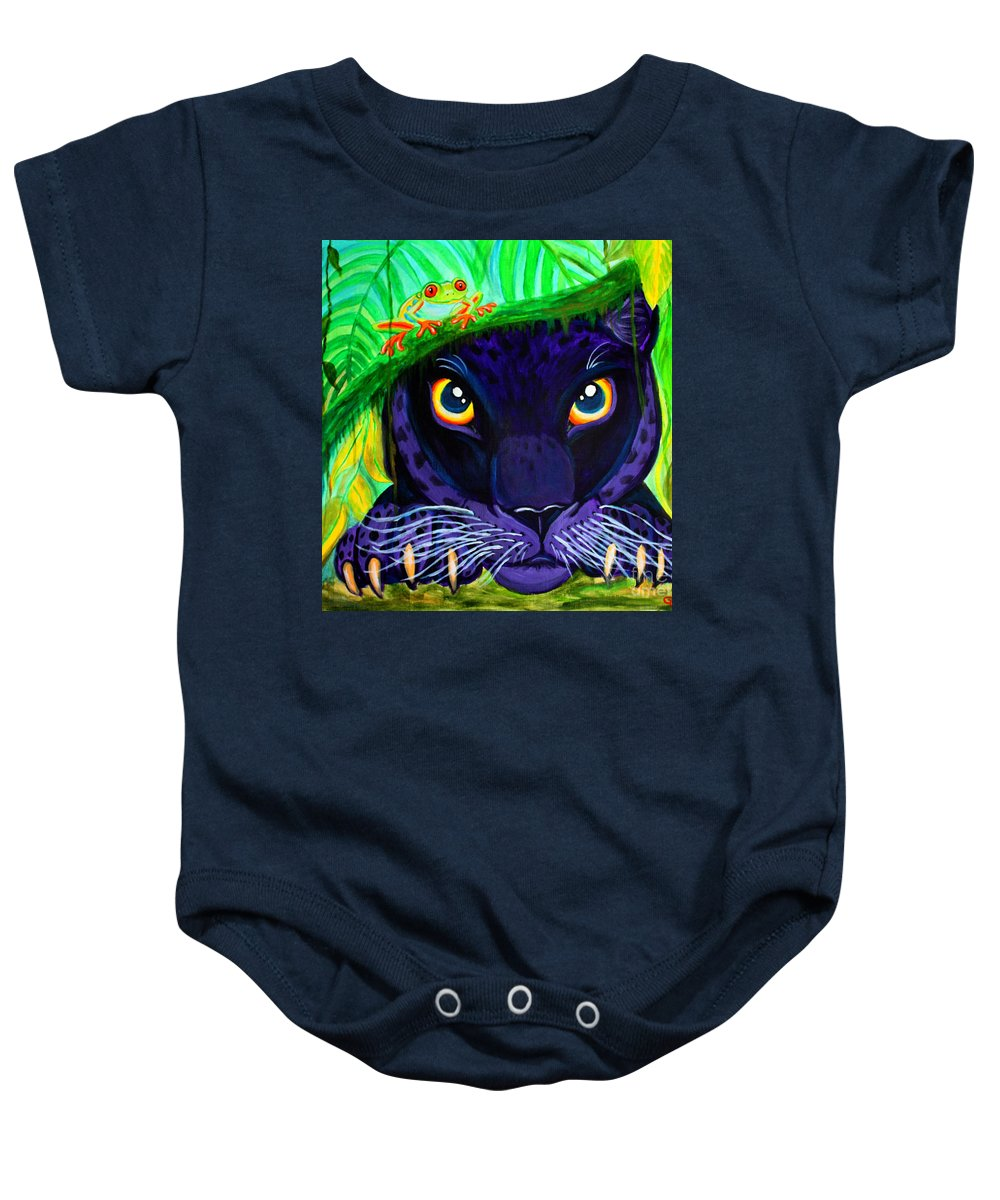 Black Panther Baby Onesie featuring the painting Eyes Of The Rainforest by Nick Gustafson